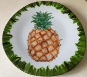 ceramique verre fruits plat peint main ananas porcelaine : Ananas