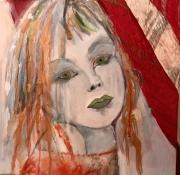 tableau personnages enfant portrait melancolie moderne : La fillette aux yeux verts