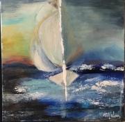 tableau marine bateau mer coucher soleil voilier : Le petit bateau