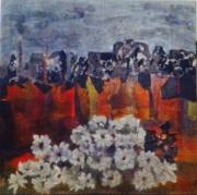 tableau paysages falaises fleurs brume moderne : les fleurs blanches des corons
