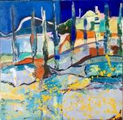 tableau paysages cypres paysage bleu arbres : Les Cyprès