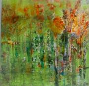 tableau paysages arbres foret abstrait vert : Forêt dans la brume