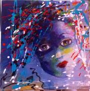 tableau personnages enfant portrait bleu dripping : l'enfant bleu