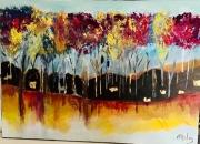 tableau paysages arbre foret allee moderne : Allée d'automne