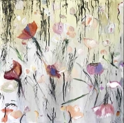 tableau fleurs fleur pavot coulure moderne : les pavots