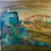 tableau paysages mouettes mer paysage bleu : Le rocher aux mouettes