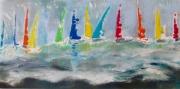 tableau marine mer voiles marine bateaux : voiles sous le vent