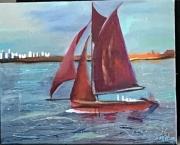 tableau marine bateau mer voilier rouge : Le voilier rouge