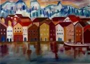 tableau villes norvege ville reflet maisons : Bryggen