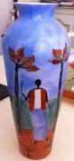 ceramique verre autres afrique masai arbres : vase Afrique