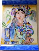 ceramique verre personnages plat peint ,a la main femme couleur portrait : femme turban