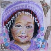 tableau personnages enfant portrait pastel asie : petit bonnet 2