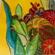 tableau fleurs cactus moderne dripping colore : LES CACTUS