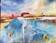 tableau paysages paysage moderne lumiere eau : Temps calme