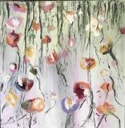 tableau fleurs pavots fleurs moderne coulures : les pavots2