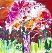 tableau fleurs fleurs vase rose vert : bouquet du jardin