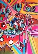 tableau animaux mer poisson peinture acrylique : AQUABULLES