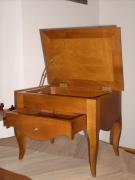 bois marqueterie coffret tiroir porte revue : Petit Banc HARMONIE Palissandre de Santos.