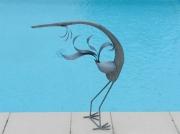 sculpture animaux zinc oiseau heron zinc : héron