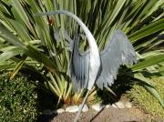 sculpture animaux heron zinc decoration jardin : la toilette du heron