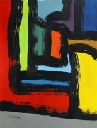 tableau abstrait peinture contemporai art abstrait acrylique sur toile : Au fond de la rue