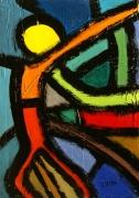 tableau abstrait acrylique sur toile art abstrait peinture contemporai : Le lanceur