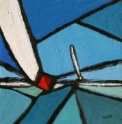 tableau abstrait acrylique sur toile peinture contemporai art abstrait : Régate