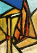 tableau abstrait acrylique sur toile art abstrait peinture contemporai : La Meije