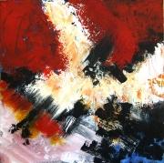 tableau abstrait acrylique sur toile art abstrait peinture contemporai : Blanc sur rouge rien ne bouge