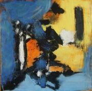 tableau abstrait peinture contemporai art abstrait acrylique sur toile : Sous le vent de l'île