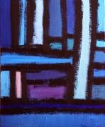 tableau acrylique sur toile art abstrait peinture contemporai : Le bleu de la ville