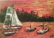 tableau marine couche de soleil bateaux marine figuratif : les bateaux se couchent