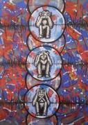 tableau animaux : sages singes
