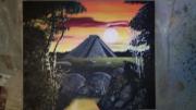 tableau paysages incas pyramide soleil : Pyramide Incas