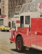 tableau autres camion pompiers rouge ville : NEW YORK