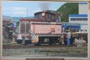 tableau scene de genre rhone alpes train gare locomotive : locomotive