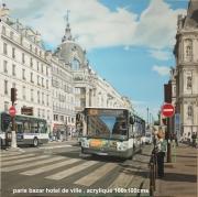 tableau scene de genre bazar autobus hotel de ville ville : Bazar de l'hôtel de ville