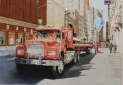 tableau villes camion pompiers new york rouge : NEW YORK camion Mack