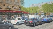tableau paysages ville paris voitures restaurant : le départ saint Michel