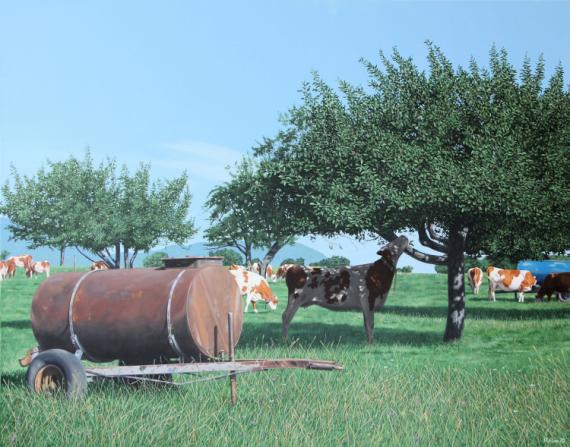 TABLEAU PEINTURE Paysages Acrylique  - vaches à drumettaz