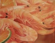 tableau nature morte poisson crevettes plat repas : crevettes roses