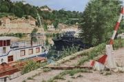 tableau paysages ville lyon saone paysage : la Saone à Lyon n°1