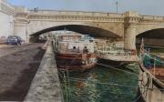 tableau architecture paris pont fleuve paysage : PARIS pont Concorde
