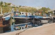 tableau scene de genre lyon peniches bateaux fleuve : LYON bord de Saone