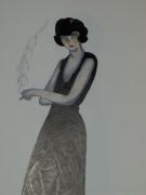 dessin personnages femme melancolique mysthique 1900 : la décheance