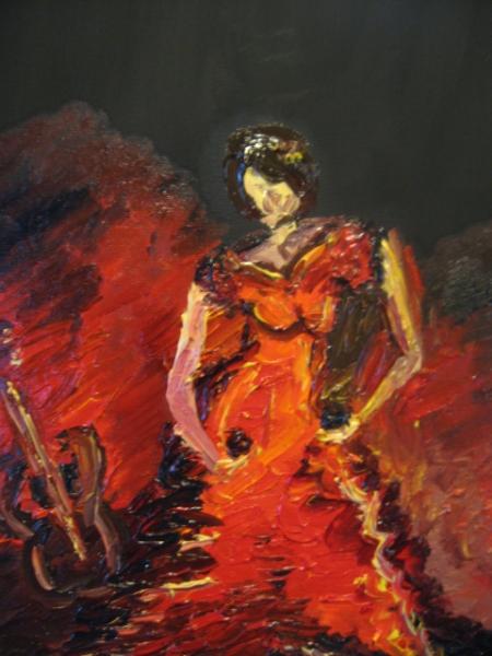 TABLEAU PEINTURE flamenco femme danse espagne Personnages Peinture a l'huile  - nu flamenco