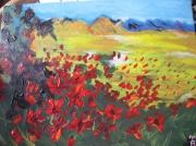 tableau fleurs coquelicot champ montagne reproduction : champ de coquelicots