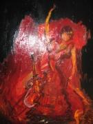 tableau personnages flamenco danse femme guitare : nu flamenco 3