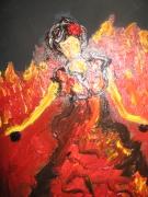 tableau personnages flamenco danse femme flamme : nu flamenco 4