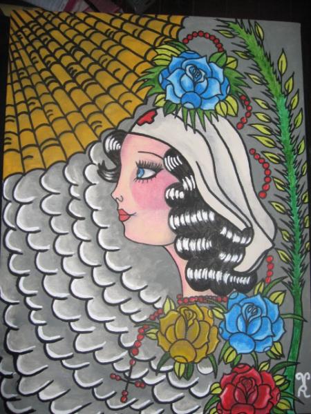 TABLEAU PEINTURE femme rose croix toile d'arraign Scène de genre Acrylique  - betty